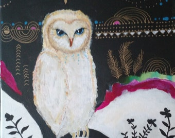 Original Painting, Colorful, Contemporary, Whimsical, Intuitive Soulful Art, Impressionistic, Owl