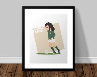 George Best Illustrated Poster Print | A6 A5 A4 A3