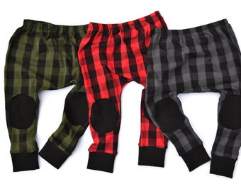 GREEN~ Buffalo Plaid Harems Leggings with Knee Patches