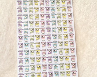0055 Doodle Coffee Kawaii REPOSITIONABLE DIE CUT stickers