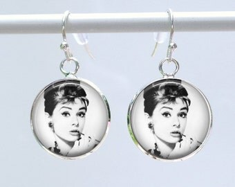 Audrey Hepburn Earrings - Breakfast at Tiffany's Earrings - Audrey Hepburn black and white photo w/cigar cigarette - Dangle french hook