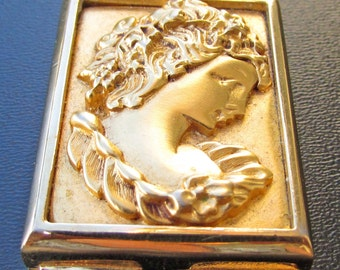 Vintage Estee Lauder Perfume Compact Cameo Gold Tone Portrait Woman  Repousse Profile Pill Box Trinket Hinged Gifts For Her Stocking