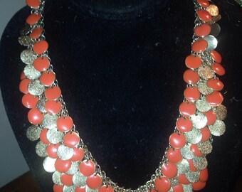 1970's Enamel & Brass Necklace