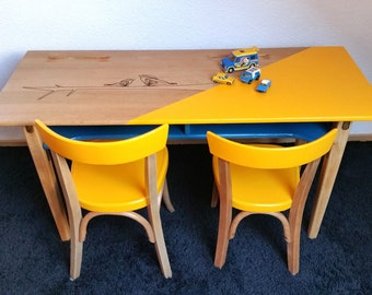 Veritale school desk double fifties and his duo of chairs stamp FISCHER