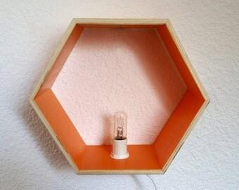 Pretty wall wooden forms hexagonal Orange