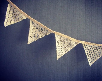 Lace and crochet bunting/vintage wedding accessories