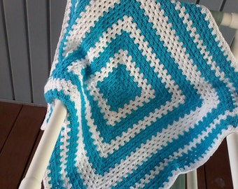 Granny square baby boy afghan