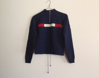 high neck navy jumper