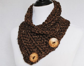 Brown Tweed Crochet Scarf, Crochet Button Cowl, Brown Crochet Neck Warmer, Button Scarf, Crochet Wrap, Collar Scarf