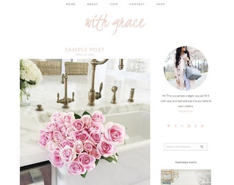 Blogger Template, Blogger Theme, Template For Blogger, Website, Blog, Mobile Responsive, Lifestyle Blog, Blogger, Blogspot, Website Feminine