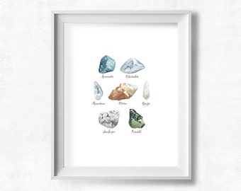 Rocks and Minerals Printable, Watercolor Geology Wall Art, Neutral Colors Nature Theme Print, Gift for Science Teacher