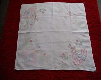 1930s Vintage Crinoline Lady Tablecloth