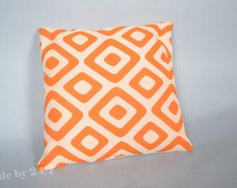 "40 x40 cm ( 16"" x 16"" ) Handmade Pillow cover beige & orange  Retro - mid century  Throw Cushion cover"