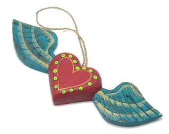Painted Wooden Winged Heart Ornament