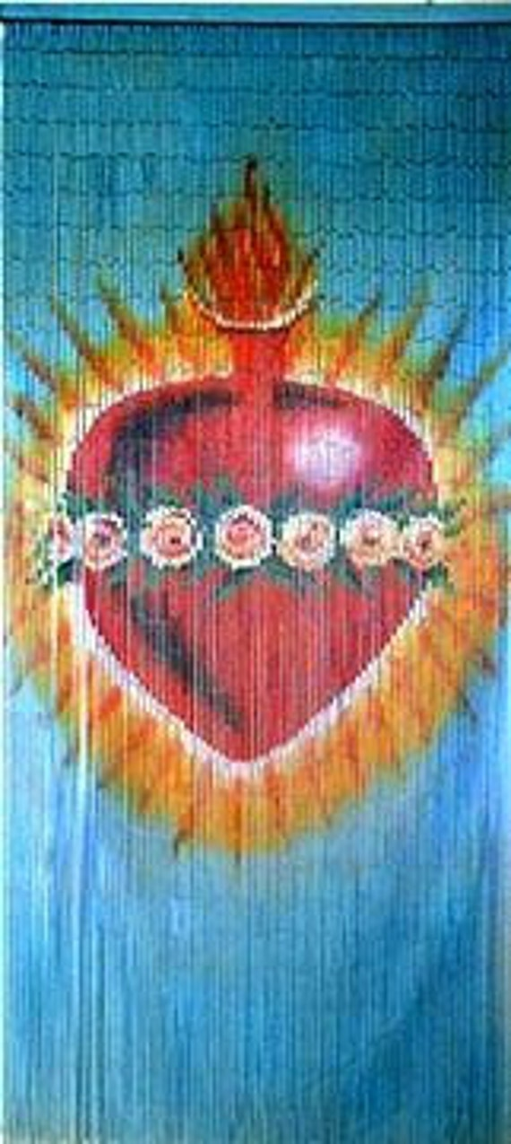 Hand painted bamboo beaded curtain sacred heart for Hand painted bamboo beaded curtains
