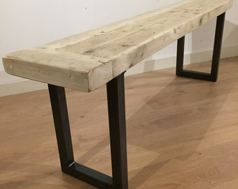 Dining Bench Reclaimed Pine with Box Section Steel Legs