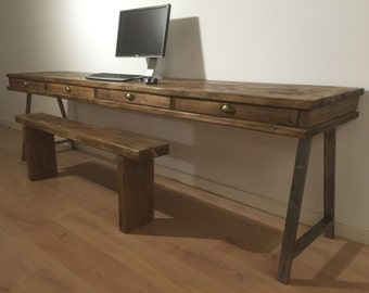 Bespoke Reclaimed Pine Xtra Large Desk With 4 Drawers And A Frame Steel Legs