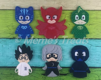Set of 6 Finger Puppets - Inspired by Bedtime Hero - Pajama Heros show