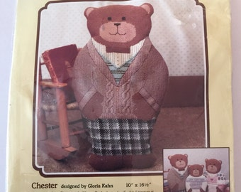 "Dimensions Bear hugs textured needlepoint #2288 ""Chester"" 1985 New"
