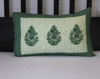Standard Pillow cover, dull white and green pillow cover, cotton hand block printed washable pillow cases floral pillow cases, dorm bedding