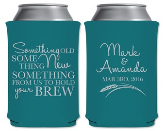 Customized Can Coolers Beverage Insulators Wedding Favors | Something Old Something New | Custom Beer Holders/Can Holders | READ DESCRIPTION