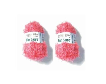 2 Skeins Moda Dea Fur Sure Yarn, Like Coral Color No. 3259, Super Bulky Weight (No. 6),  Textured Novelty Yarn, 50g, 1.76 oz,. 98 yards