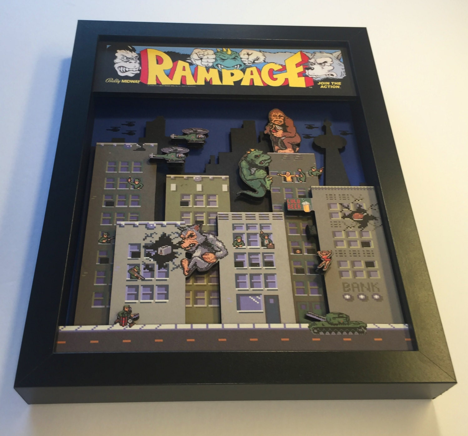 Rampage Arcade Game 3d Shadow Box