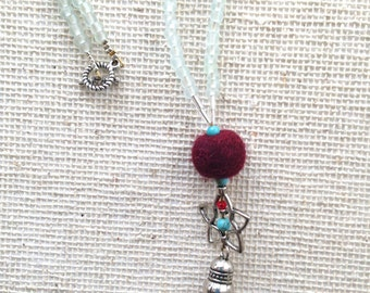Layering necklace + Sea Glass Tassel necklace with FIve Pointed Star