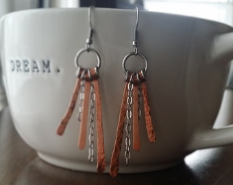 Stainless steel and copper earrings