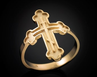 Gold Russian Eastern Orthodox Cross Ring (yellow, white, rose gold, 10k, 14k)