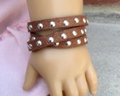"""Doll bracelet- Studded faux leather wrap bracelet in metallic tan or copper for American Girl and other 18"""" dolls"""