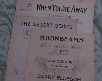 VINTAGE SHEET MUSIC - Piano - Lot of 7 - 1906-1937 - Rodgers-Hammerstein-Herbert-Romberg-Hubbell