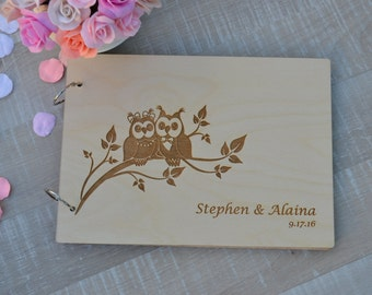 Wedding owls Gift Personalised Guest Books  Decor Rustic Wedding Guest Book Alternative Guest Book  Wedding Book Decor Unique Guestbook