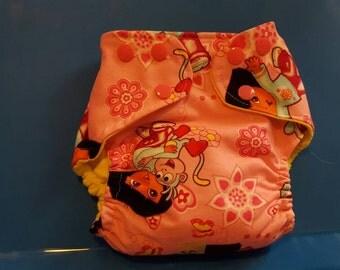 SALE!!!! Small dora the explorer pocket cloth diaper