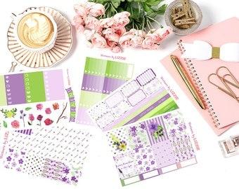 Happy Planner || Purple Dreamy Garden week Kiss-cut weekly kits planner stickers ||