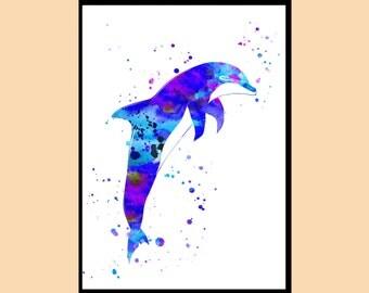 Dolphin, Ocean art, sealife,watercolor art print, animal painting, home decor, watercolor painting, animal art, Instant Download