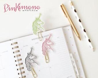 Pretty Little Unicorn Paper Clip   Planner Accessories   Unicorn Stationery   Laminated Planner Clips