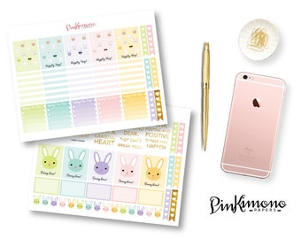 Bunny Love Weekly Planner Sticker Kit | Easter Planner Stickers | 114 Stickers