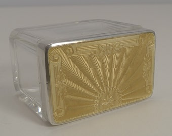 Outstanding Sterling Silver & Guilloche Enamel Topped Box - 1940