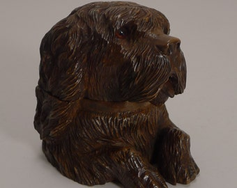 Fine Black Forest Figural Inkwell - Dog With Glass Eyes c.1890