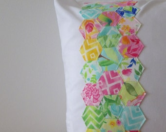 REDUCED Hand Stitched Hexagon Pillow