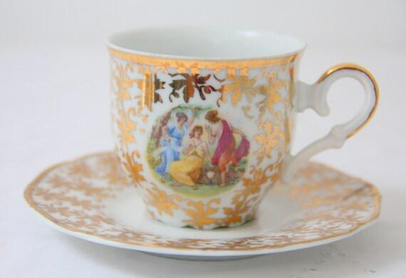 Vintage MZ Czechoslovakia Porcelain Demitasse Cup and Saucer, Gold Leaves and Fragonard Scene