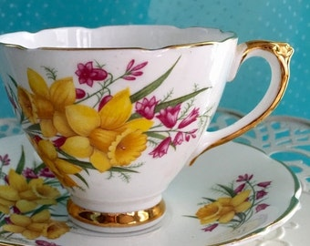 Future Antique 1980's Delphine Tea Cup and Saucer, YellowTeacup, Vintage China, Tea Set, Daffodils