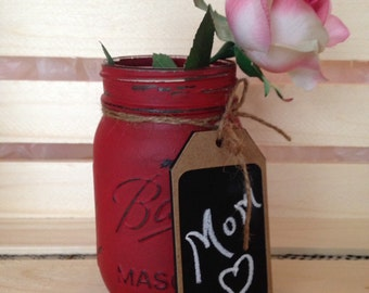 Valentine Mason Jar. Painted Mason Jar. Valentine Gift. Mothers Day Gift. Teachers Gift. Vase. Candy Jar. Customizable.