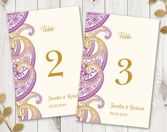 "Indian Wedding Table Numbers Template ""Paisley"", Purple & Gold. DIY Printable Wedding Table Cards, Flat. Instant Download, MS Word."