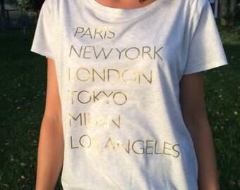 Paris Tee. Paris London New York Tee. Dolman. Dolman top. Dolman shirt. Dolman sleeve. Dolman Sleeve Top. Dolman French Tee. White Dolman