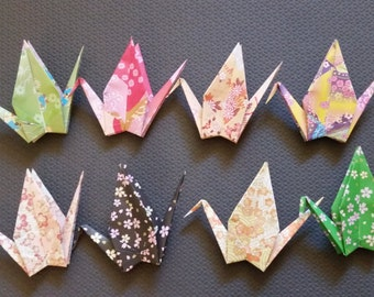 48 Large origami paper cranes - 8 different patterns - great for weddings, parties