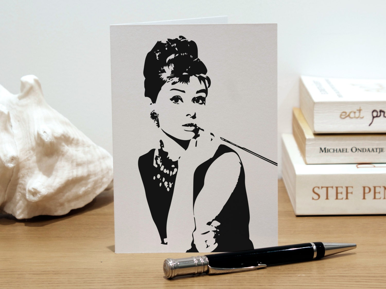 Personalised Audrey Hepburn Greeting Card Fashion Illustration – Fashion Birthday Cards