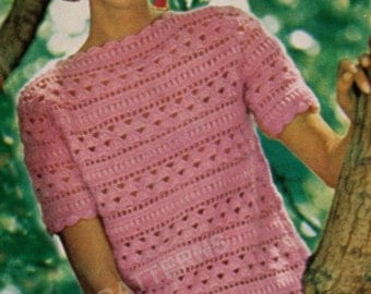 Crochet pattern short sleeve sweater granny square and boat