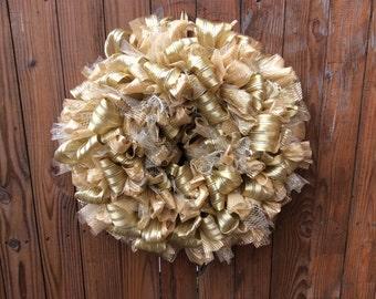 Elegant Golden Ribbon Wreath